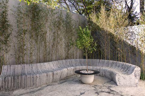 modern design bench outside