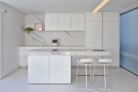 modern kitchen in minimalist style in white
