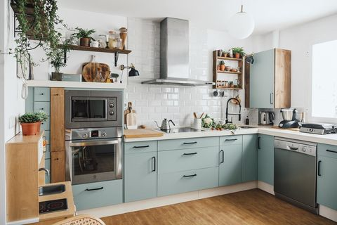 Kitchen before and after: A green and white kitchen