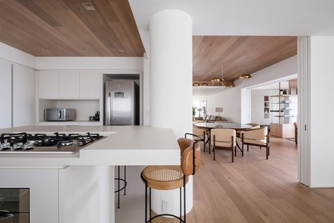 open kitchen with contemporary design in white
