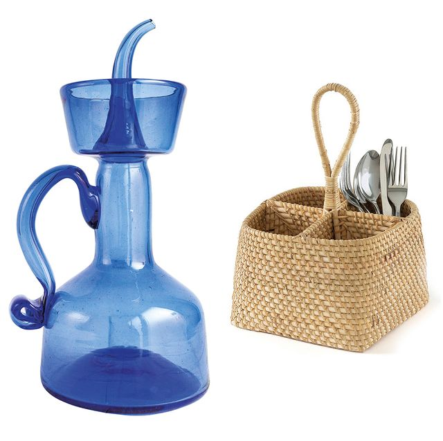 Blue and red kitchenware