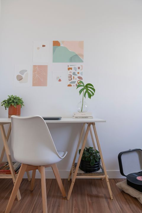 Nordic style desk in white with wooden legs and matching chair