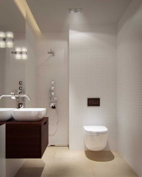 Minimalist bathroom with white walls and beige floor, with large mirror