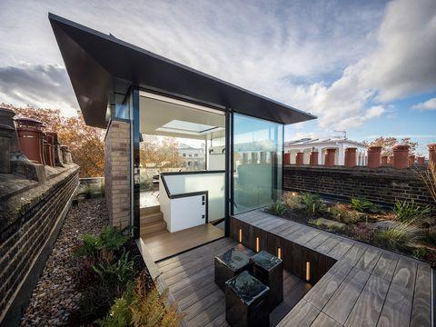 rooftop glazed studio with garden