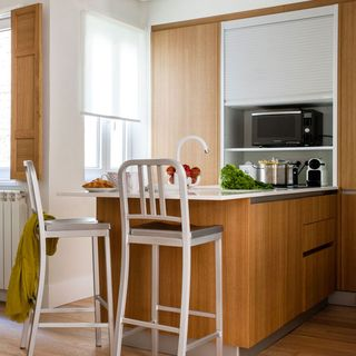Small kitchen with peninsula