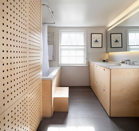 bathroom designed with plywood