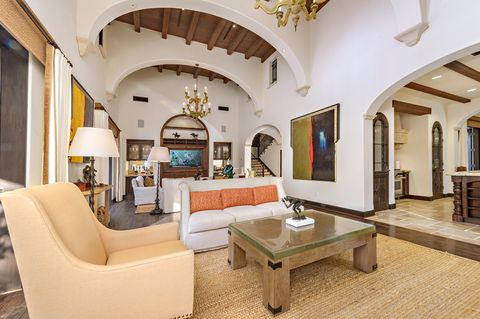 Formal lounge with Tuscan-style fireplace