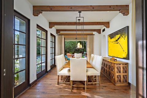 dining room in a gallery overlooking the garden