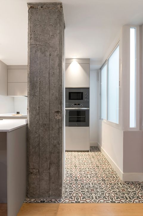 cement column in the kitchen