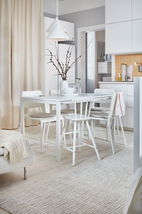 white kitchen with office from the new ikea 2021 catalogue