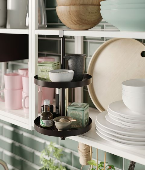 double tray-type shelf in black from the new ikea catalogue 2021
