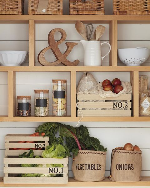 pantry with wooden shelf