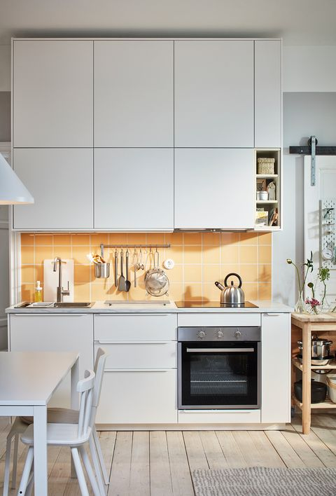 open design kitchen in white from the new ikea 2021 catalogue