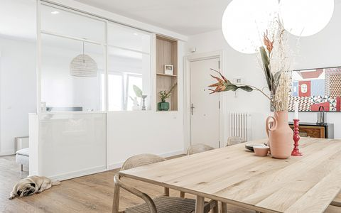 white floor and modern wooden dining room