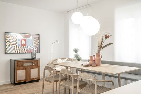 white floor and modern Nordic style dining room