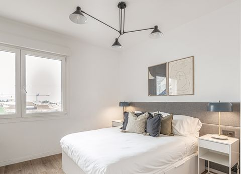 white floor and modern master bedroom