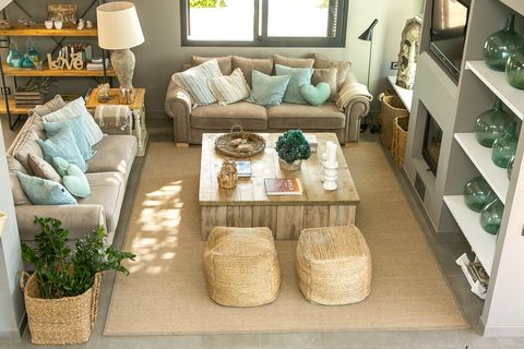 living room decorated in earth tones of Mediterranean style