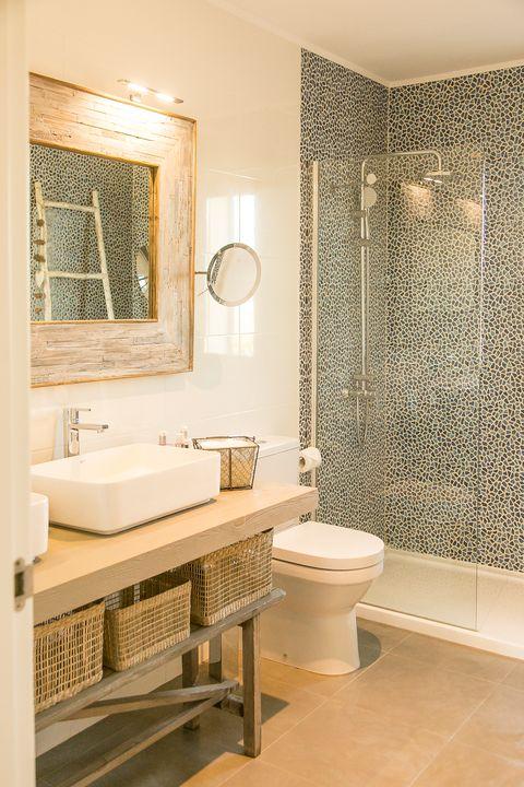 mediterranean style bathroom with shower