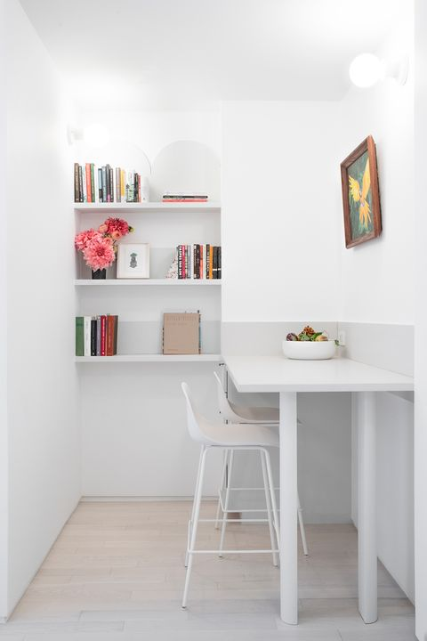 minimalist office decorated in white