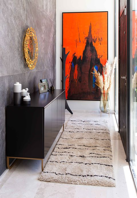 contemporary style hall decorated with modern artwork