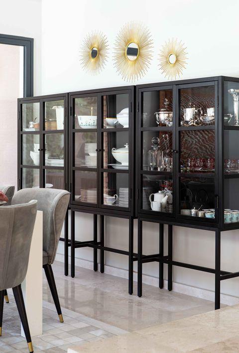contemporary design display cabinet in black