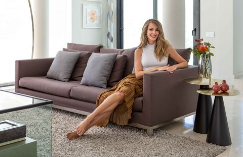 modern sofa in aubergine color
