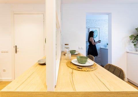 wooden countertop as a breakfast bar