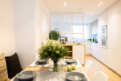 semi open kitchen to the living room with Nordic style