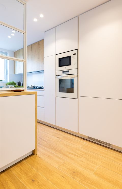 built-in appliances in the kitchen cupboard