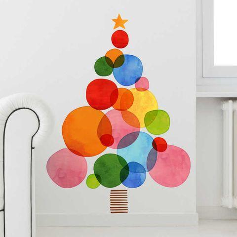 colorful christmas tree wall vinyl