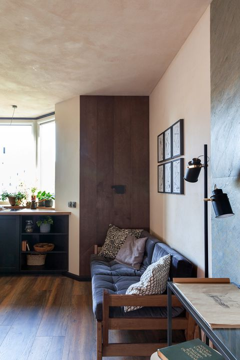 living room decorated in earth tones