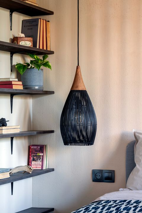 black stained rattan pendant lamp