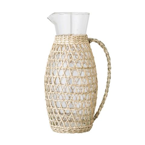 glass jug with braided vegetal fiber cover