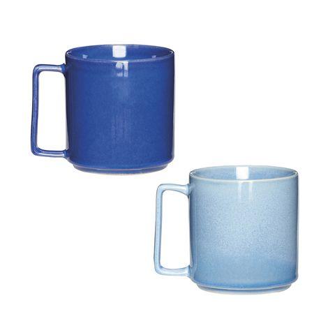 two-tone blue glazed ceramic mugs