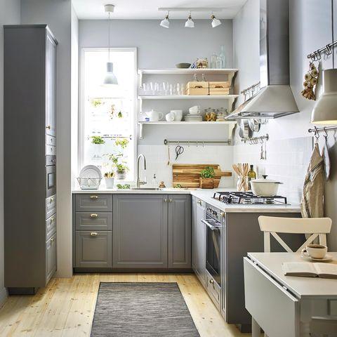 modern kitchen with gray furniture