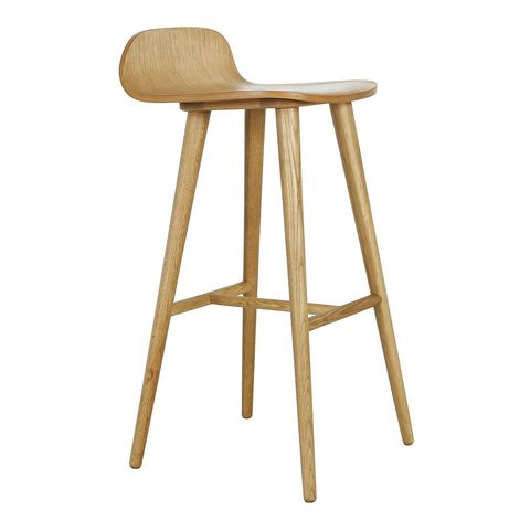 stool with rounded wooden seat and back, English court cape