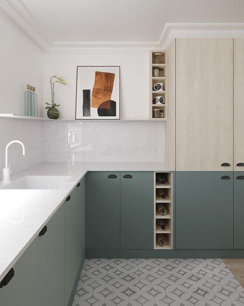 aqua blue modern kitchen
