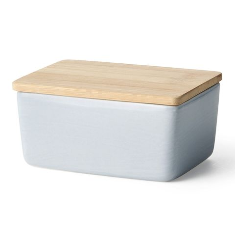 butter dish with bamboo lid