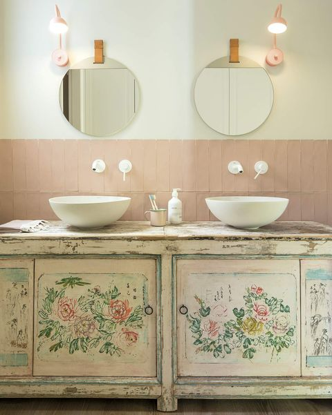Renovated apartment in barcelona bathroom with recovered washbasin cabinet