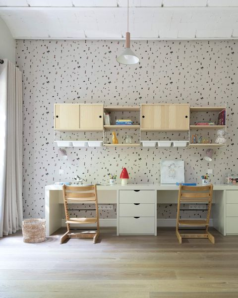 Renovated apartment in barcelona children's bedroom with study area