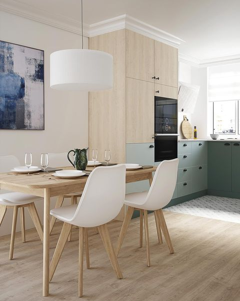 modern kitchen with wooden dining area