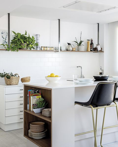modern kitchen with island and subway tiles