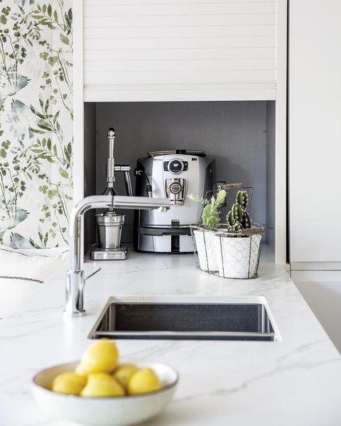 modern kitchen with hidden functional furniture