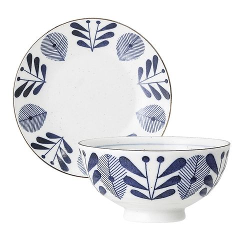 white and blue porcelain tableware, camellia from bloomingville