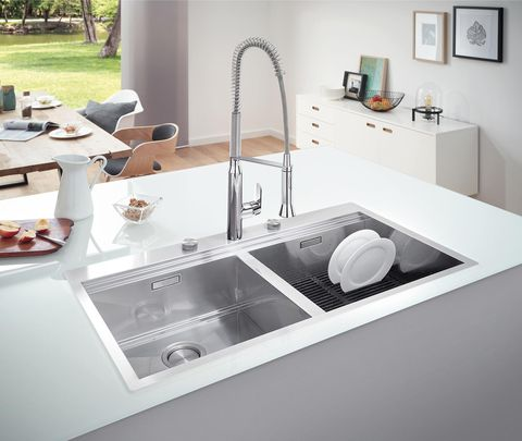 modern kitchen with island stainless steel sink