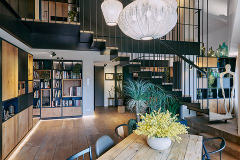 living room with two levels of industrial design
