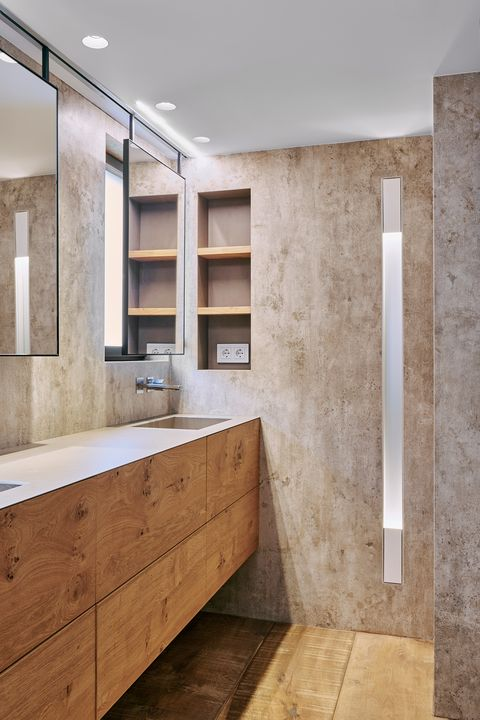 industrial design bathroom with suspended cabinet