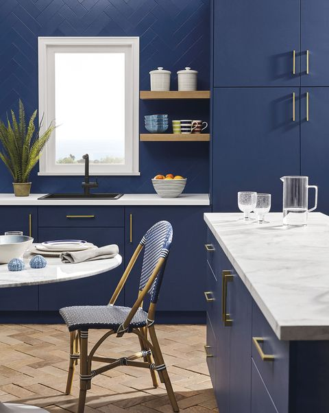 kitchen with deep blue furniture