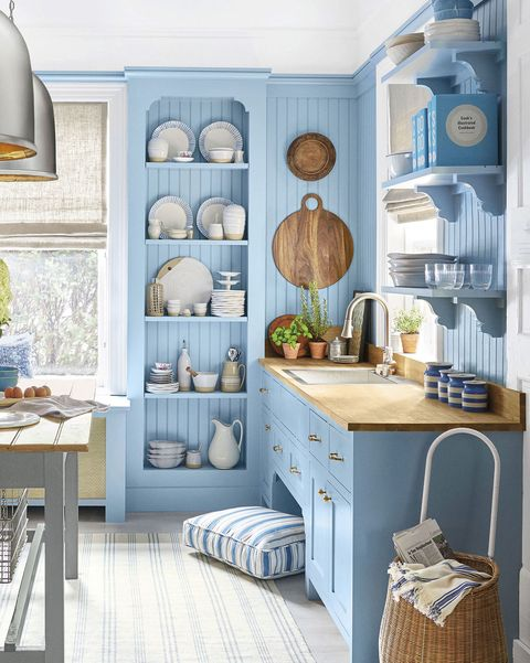 kitchen with sky blue furniture