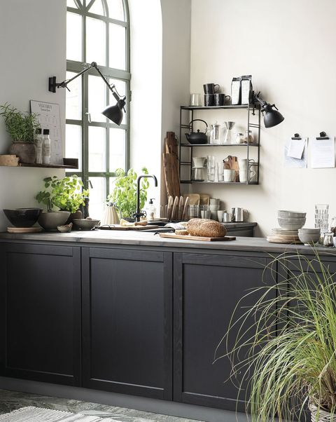 kitchen with black furniture